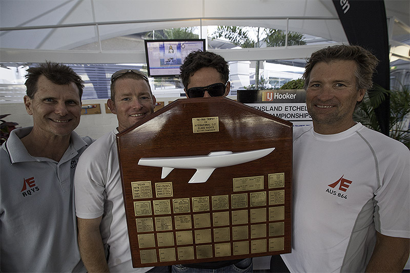 Bill Cuneo, Ash Deeks, Matt Chew in disguise and Brian Donovan with the trophy that will carry their names for another year