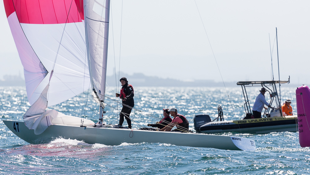 Second in Race Seven and also overall, Magpie - Graeme Taylor, Steve Jarvin, and James Mayo.